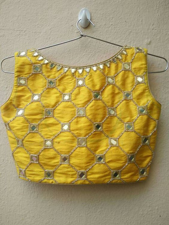 simple mirror work blouse design