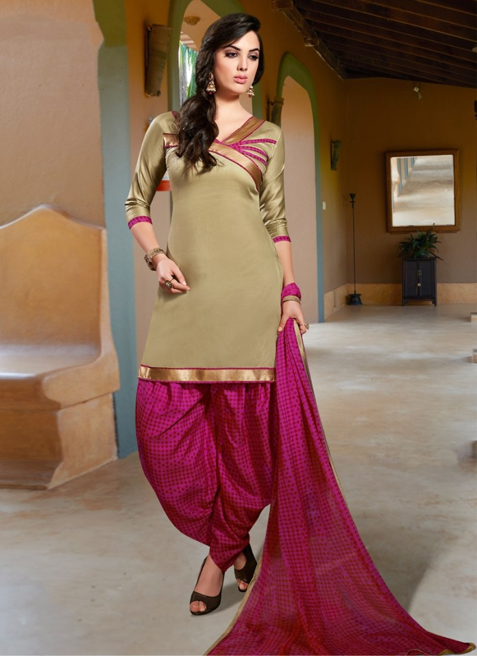 punjabi style suit with lace