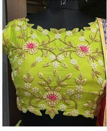 cut work neck blouse design