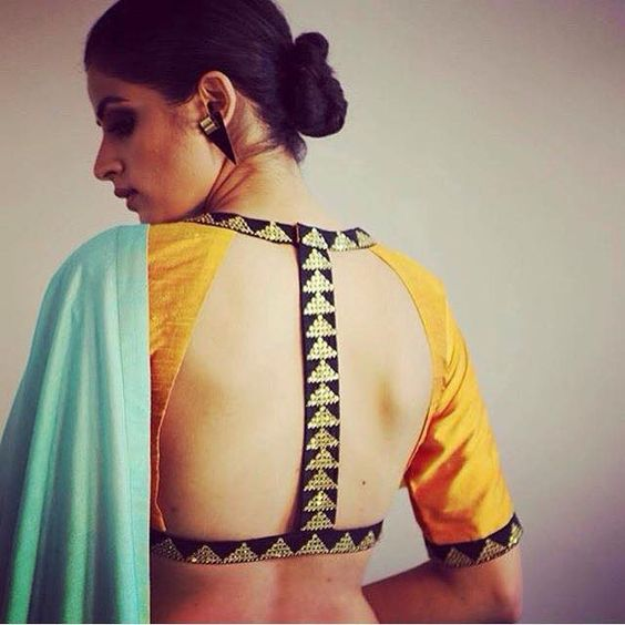 backless blouse design with saree