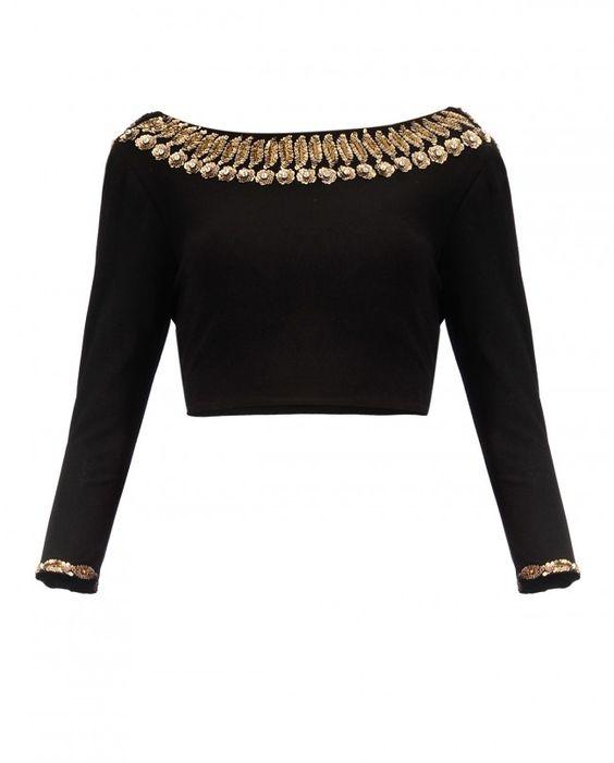 full sleeve blouse neck design
