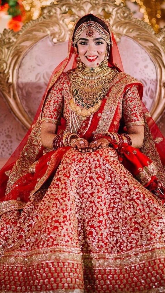 heavy red bridal lehanga