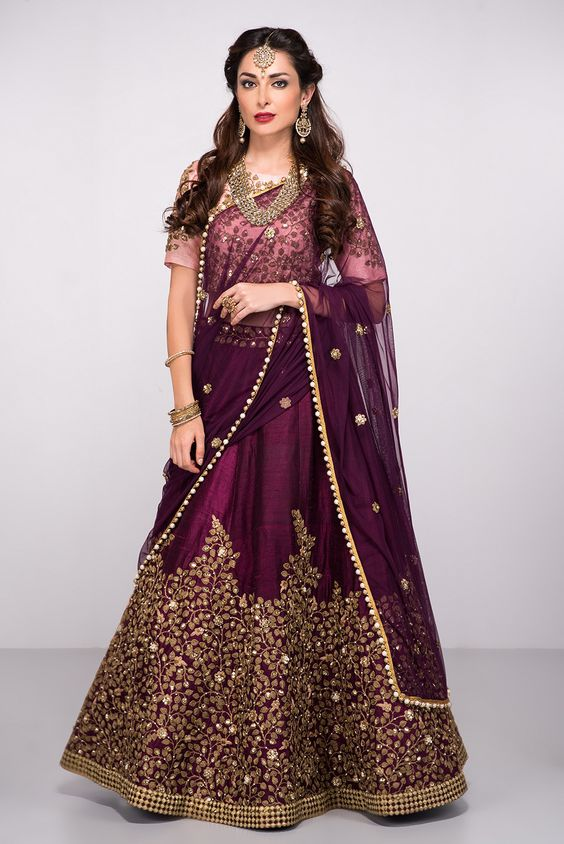Beautiful Wine Coloured Lehenga For Engagement