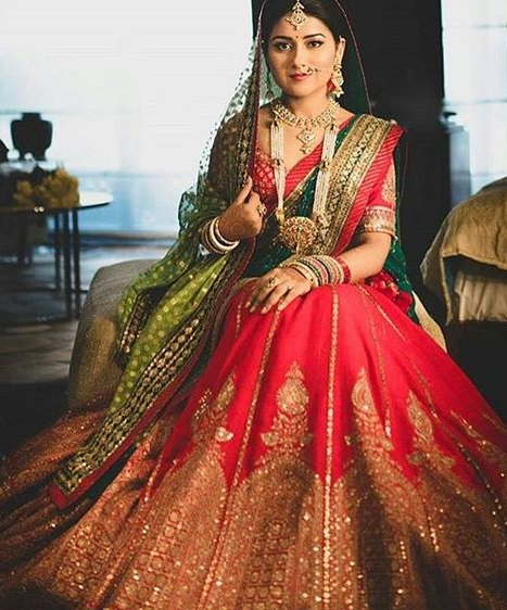 Red Green Heavy Bridal Lehenga