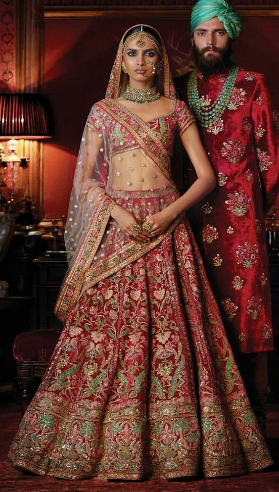 Coloured Embroidery Red Bridal Heavy Lehenga