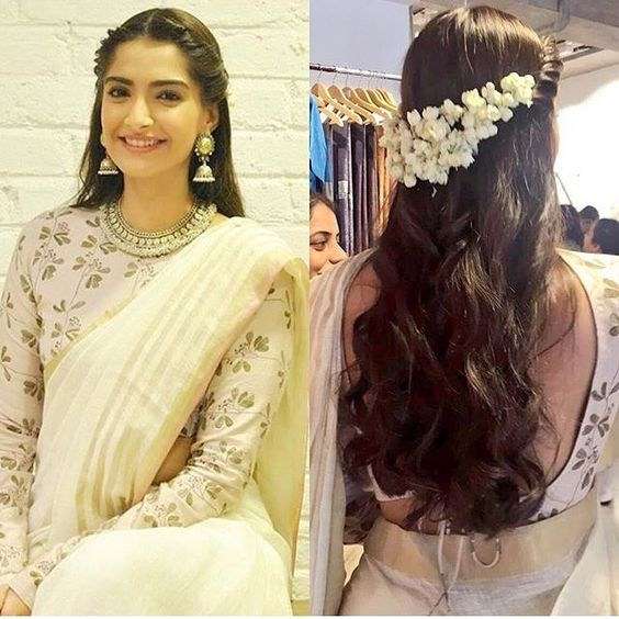 Side Braid Waterfall Hairstyle For Saree