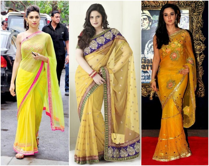 Yellow Net Saree Online