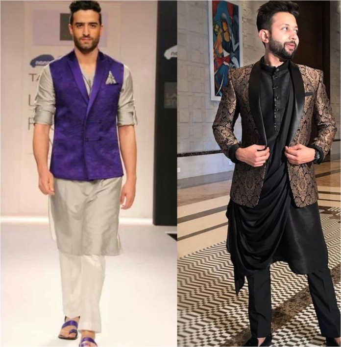 Traditional Tuxedo Jacket With Kurta Pajama