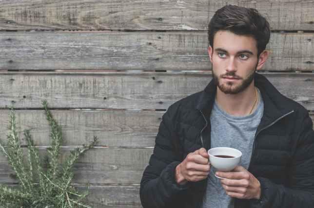 adult beard black jacket cup