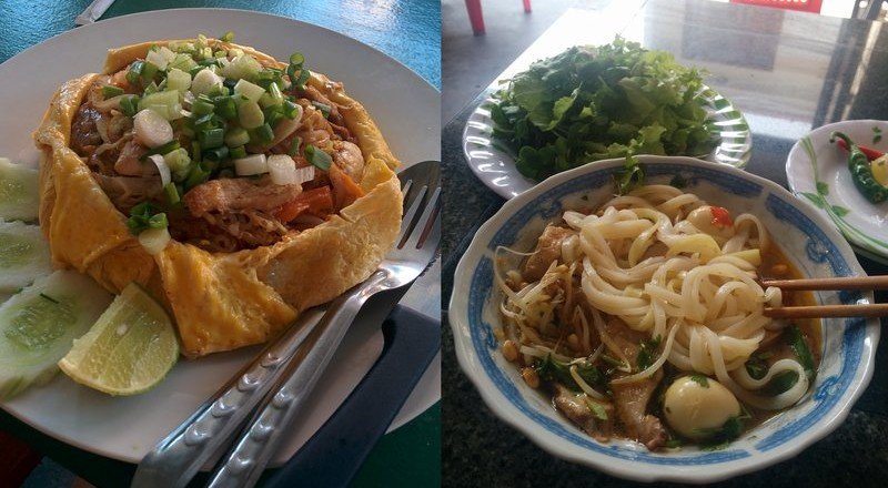 A pad thai omelette and a mì quảng