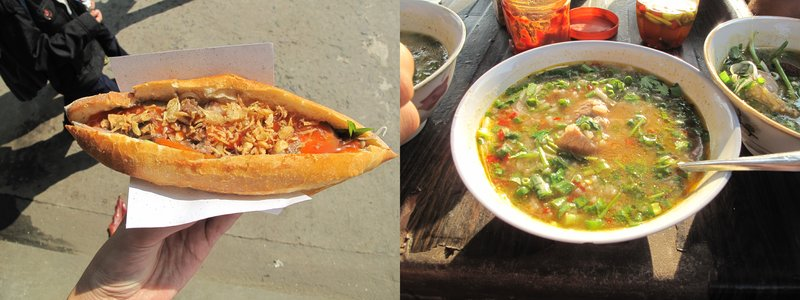 Bánh mì and a rice soup