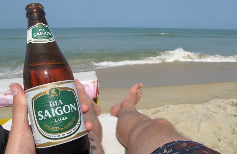 A beer on a Vietnam beach