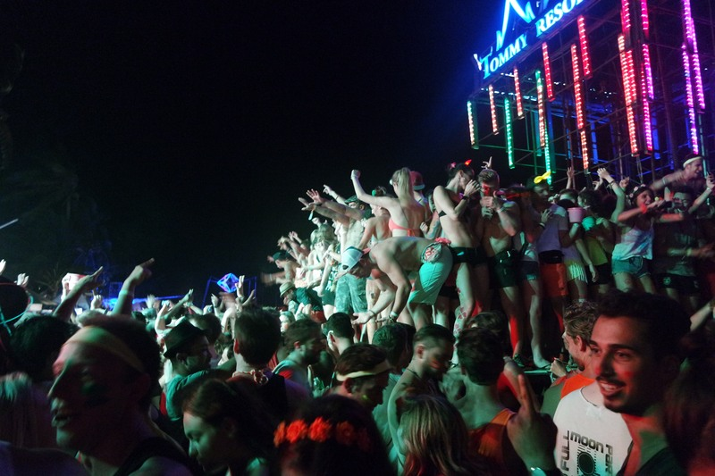 Crowd dancing on a stage
