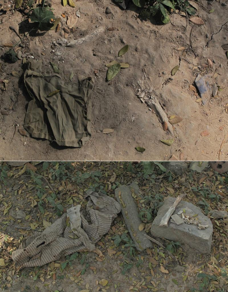 Bones and clothes at the Killing Fields