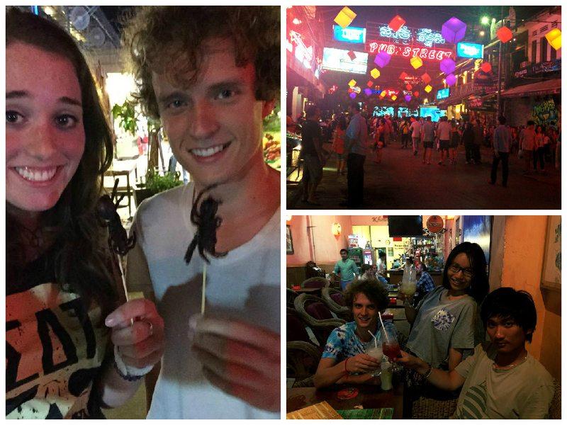 Eating tarantula, Pub Street, People drinking cocktails