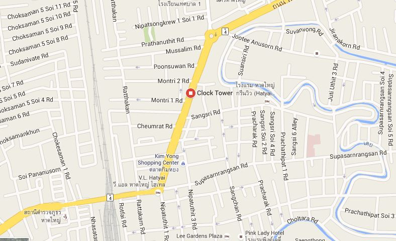 Hat Yai clock tower on a map