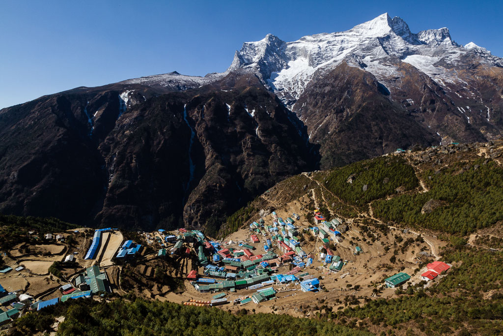 Namche Bazaar with Kongde Ri behind it