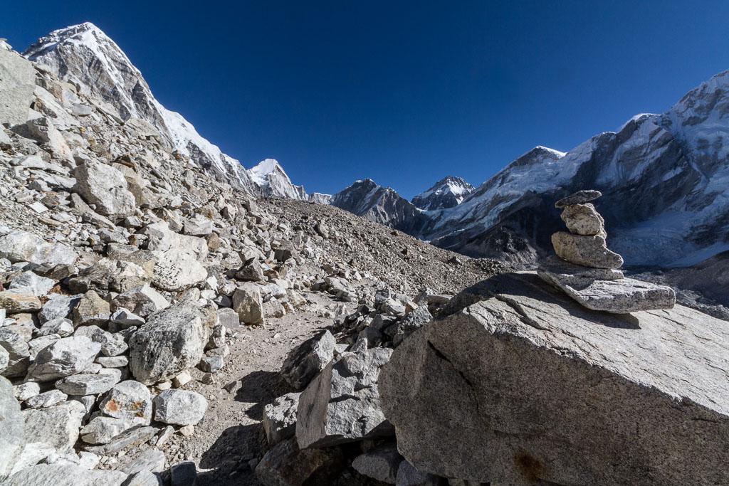 The trail over Changri Shar Glacier to Gorak Shep