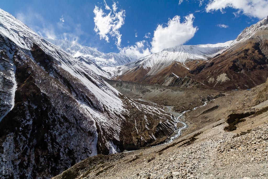 Looking back up the valley towards Tilicho Lake