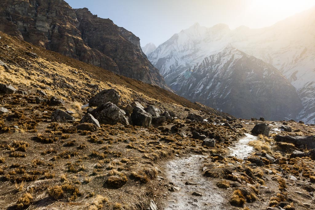 The trail back to Machapuchare Base Camp