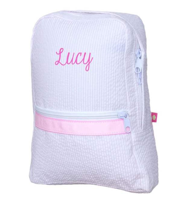 Personalized Kids Bag - Pink Seersucker Kids Bag
