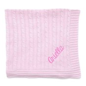 Personalized Blanket - Pink Cable Knit
