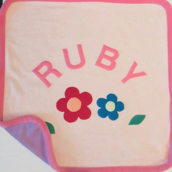Daisy Fleece Blanket - Baby Pink Front/Lavender Back/Bright Pink Trim and Text