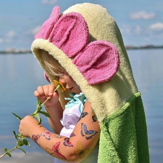 Personalized Hooded Towel for Kids - Flower