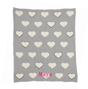 Chunky Multi Heart Grey Blanket