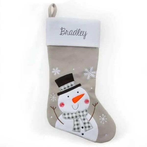 Personalized Christmas Stocking - Grey Snowman
