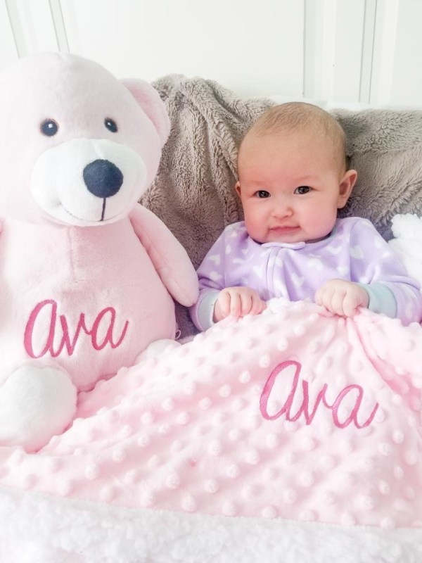 Personalized Baby Blanket - Pink Popcorn with Bear