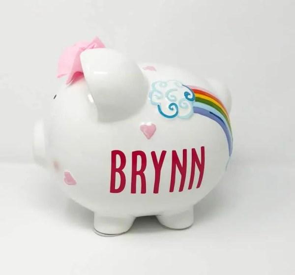 Personalized Piggy Bank - rainbow