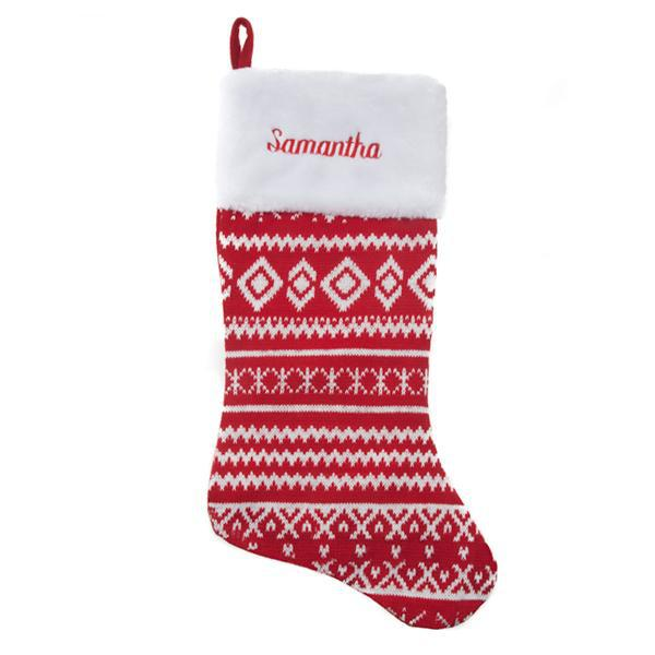 Personalized Christmas Stocking - Knit Red & White