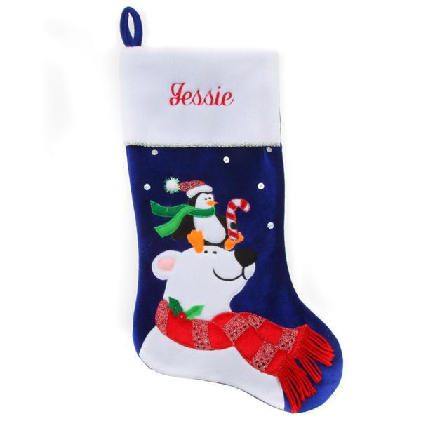 Personalized Christmas Stocking - Blue Polar Bear