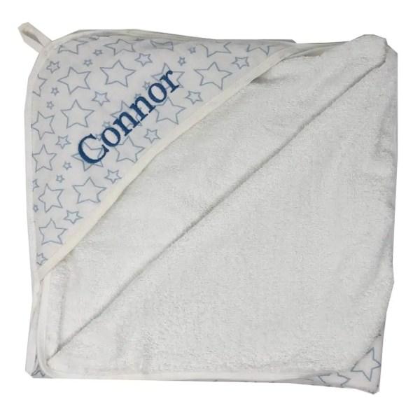 Personalized Newborn Towel - Muslin Blue Sta