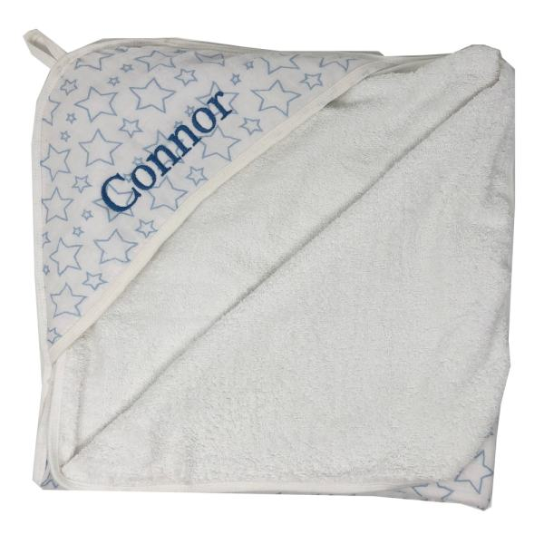 Personalized Newborn Towel - Muslin Blue Sta