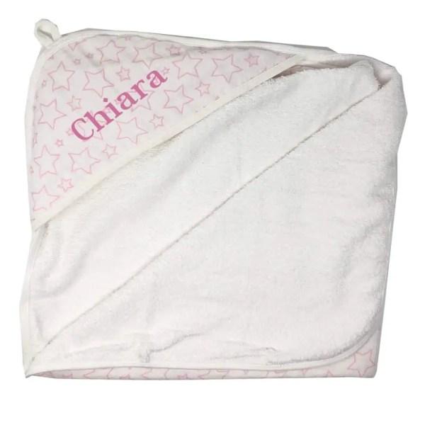Personalized Newborn Towel - Muslin Pink Star