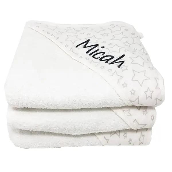 Personalized Muslin Baby Towel - Grey