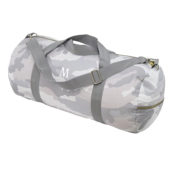 Personalized Weekend Duffel - Grey Camo (in white)