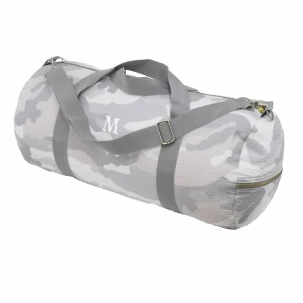 Personalized Weekend Duffel - Grey Camo (in white)