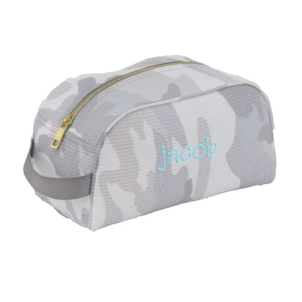 Personalized Grey Camo Traveller Bag (in turquoise)