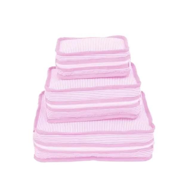 Personalized Travel Stacking Set of 3 - Pink Seersucker