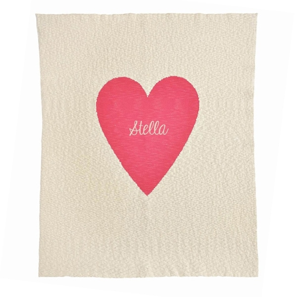 Personalized Baby Blanket - Beige and Hot Pink Heart
