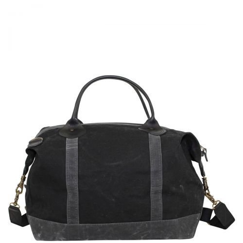 Waxed Canvas Weekender - Black with Slate Trim
