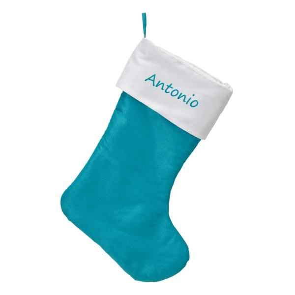 personalized satin stocking - teal