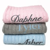 Personalized Baby Cable Knit Blankets
