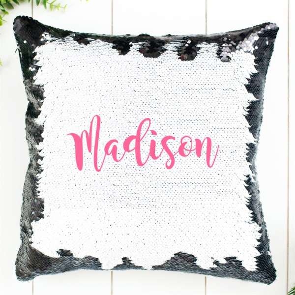 Personalized Sequin Pillow in Pink