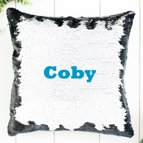 Personalized Sequin Pillow in Blue