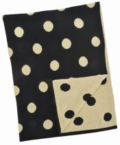 Natural Cotton Blanket - Black and Gold Polka Dot