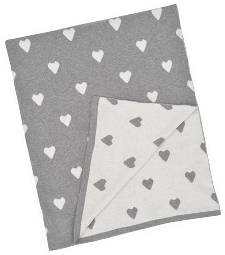 Personalized Baby Blanket - Grey & White Multi Hearts